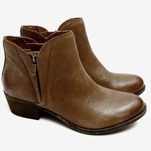 Lucky Brand Brenon Cognac Distressed Ankle Boots